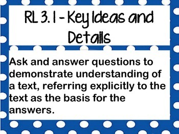 ELA Common Core Standards (CCSS) Posters for Third Grade