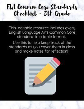 ELA Common Core Standards Checklist - 8th Grade