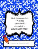 ELA Common Core Standards Checklist - California - 4th grade