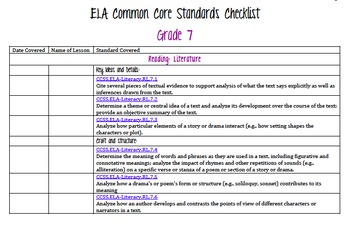 ELA Common Core Standards Checklist with Cover Pages Grade 7
