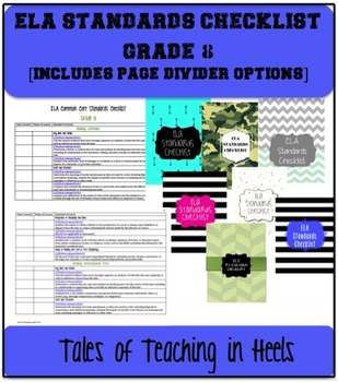 ELA Common Core Standards Checklist with Cover Pages Grade 8