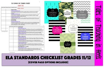 ELA Common Core Standards Checklist with Cover Pages Grades 11/12