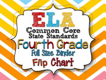 ELA COMMON CORE STANDARDS: GRADE 4 FULL SIZE BINDER FLIP CHARTS