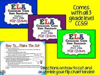 ELA COMMON CORE STANDARDS: GRADES 6-8 FULL SIZE BINDER FLIP CHARTS
