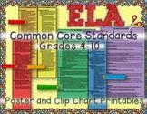 ELA COMMON CORE STANDARDS: GRADES 9-10 POSTER CLIP CHART