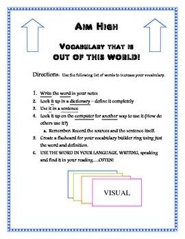 ELA Common Core Vocabulary - Aim High 6th Grade Vocabulary