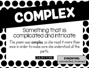 ELA Common Core Vocabulary from the Standards - Printable Posters B&W Dots