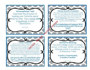 ELA Common Core Winter/January Task Cards for Upper Elementary or Middle School