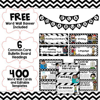 ELA Word Wall Editable - 3rd-6th BUNDLE - Black & White