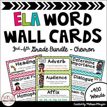 ELA Word Wall Editable 3rd-6th BUNDLE - Chevron