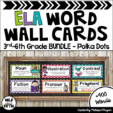 ELA Word Wall Editable 3rd-6th BUNDLE - Polka Dot