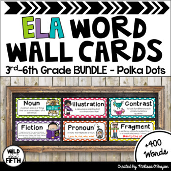 ELA Word Wall 3rd-6th BUNDLE - Polka Dot