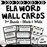 ELA Word Wall Editable - 3rd Grade - Black & White