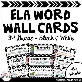 ELA Vocabulary Word Wall Cards - (3rd Grade - Black & White)