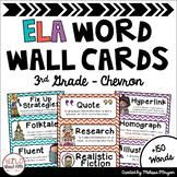 ELA Word Wall Editable - (3rd Grade - Chevron)