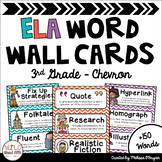 ELA Word Wall Editable - (3rd Grade - Chevron)