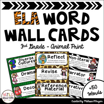 ELA Common Core Word Wall Vocabulary Cards - 3rd Grade - Animal Print