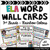 ELA Word Wall Editable - 3rd Grade - Rainbow Colors