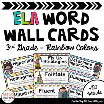 ELA Word Wall Vocabulary Cards (3rd Grade - Rainbow Colors)