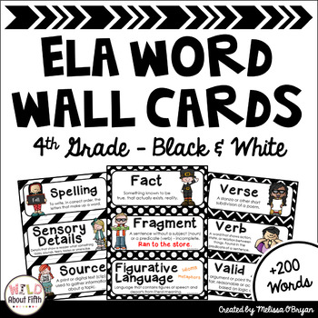 ELA Word Wall Vocabulary Cards - 4th Grade - Black & White