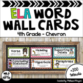 ELA Word Wall Editable - 4th Grade - Chevron