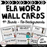 ELA Word Wall Vocabulary Cards - 4th Grade - No Backgrounds
