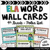 ELA Word Wall Editable - 4th Grade - Polka Dot