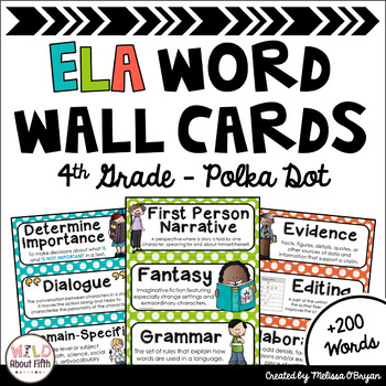 ELA Word Wall Vocabulary Cards - 4th Grade - Polka Dot