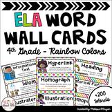ELA Word Wall Editable - 4th Grade - Rainbow Colors