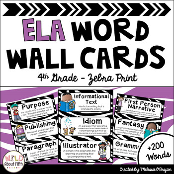 ELA Common Core Word Wall Vocabulary Cards - 4th Grade - Zebra