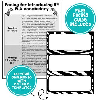 ELA Word Wall Vocabulary Cards - 5th Grade - Zebra Print