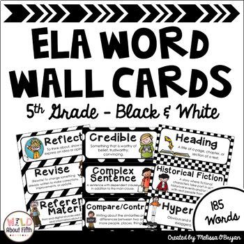 ELA Word Wall Vocabulary Cards - 5th Grade - Black & White