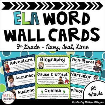 ELA Word Wall Vocabulary Cards - 5th Grade - Blue, Lime, Aqua