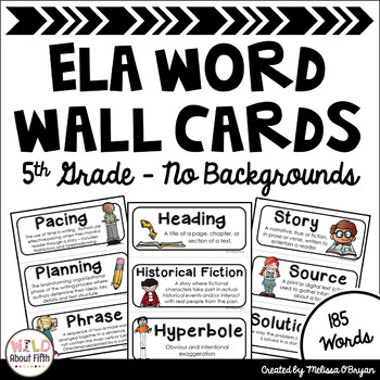 ELA Common Core Word Wall Vocabulary Cards - 5th Grade - No Backgrounds