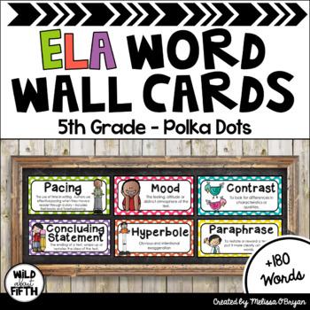 ELA Word Wall Vocabulary Cards - 5th Grade - Polka Dots
