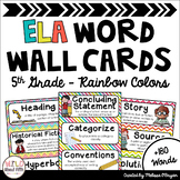 ELA Word Wall Editable - 5th Grade - Rainbow Colors