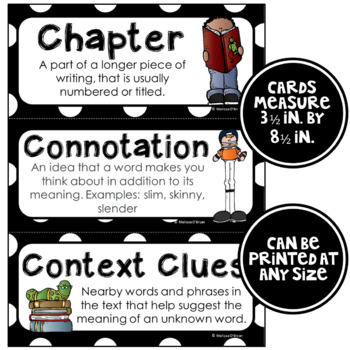 ELA Word Wall Vocabulary Cards - 6th Grade - Black & White
