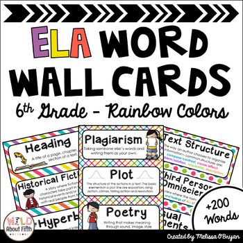 ELA Word Wall Vocabulary Cards - 6th Grade - Rainbow