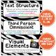 ELA Word Wall Vocabulary Cards - 6th Grade - Zebra