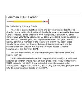 ELA Common Core short newsletter for Elementary School families #1