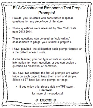 Fifth (5th) Grade ELA Constructed Response State Test Prep Prompts