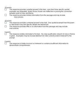 ELA Constructed Response Writing Prompt with Passage and Specific Rubric