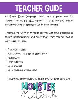 ELA Daily Language - 5th Grade FREE