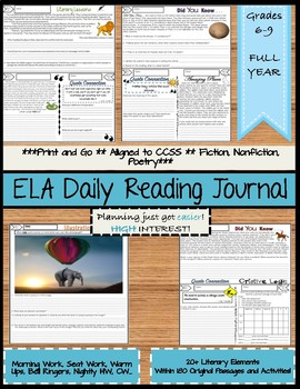 ELA Daily Reading Journal Full Year Middle School