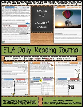 ELA Daily Reading Journal - March - Morning Work Bell Ringers