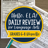 ELA Daily Review 6th - 8th Grade Bundle I Distance Learning I Google Slides