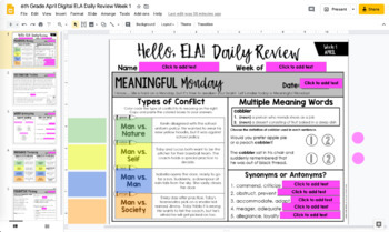 ELA Daily Review 6th Grade {April}