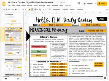 ELA Daily Review 6th Grade {October}