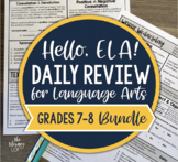 ELA Daily Review 7th and 8th Grade Bundle I Distance Learning