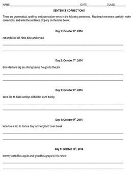 ELA: Daily Sentence Corrections, Riddles, and Quizzes